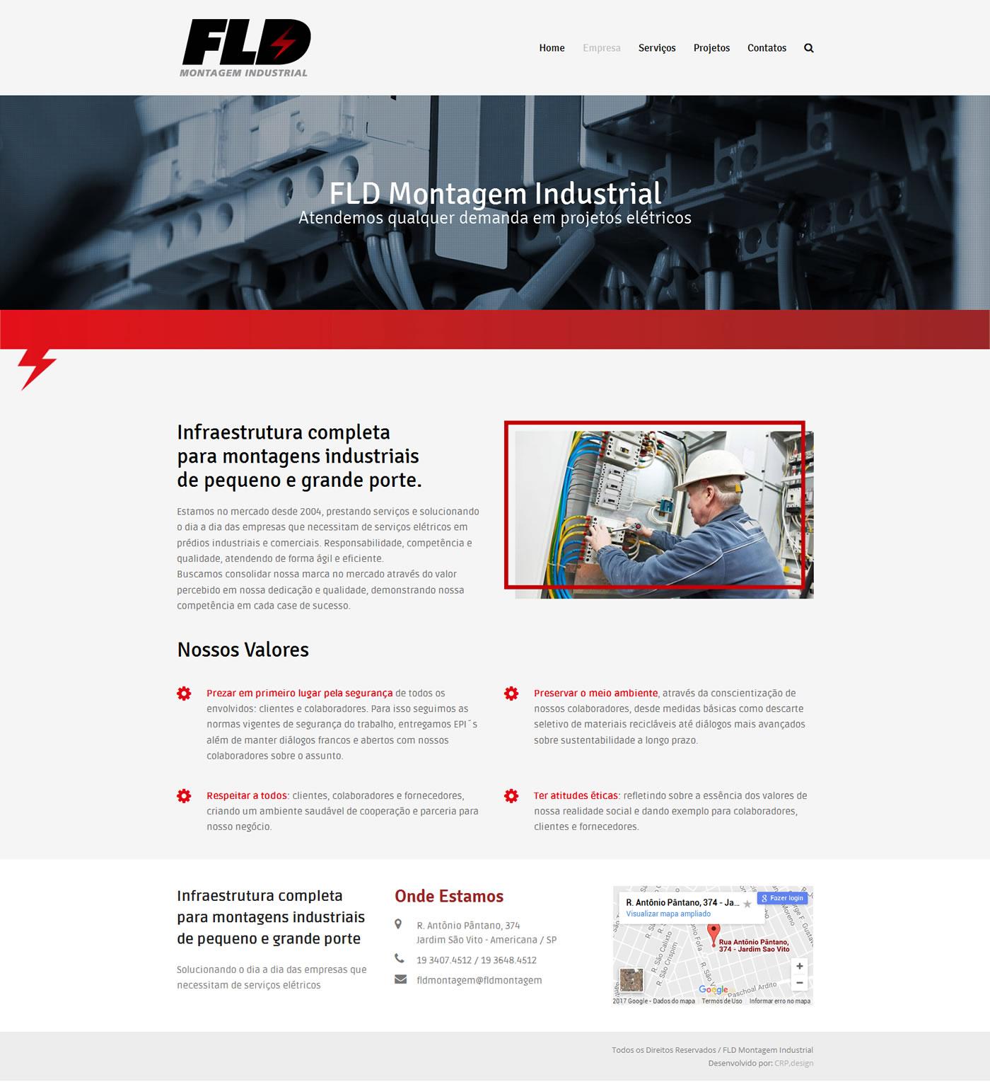 Desenvolvimento do site FLD Montagem